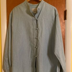J Jill Mandarin Collar Chambray button down
